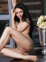 Confidently flirts and poses on the sofa,   Liuko strips her white top matching sexy red   skirt and flaunts her creamy smooth skin,   slender body, delectable smooth bits, and   her pink, juicy pussy.